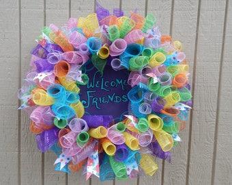 Mesh Wreath, Rainbow Wreath, Spring Wreath, Summer wreath, rainbow