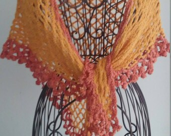 Lace Yellow and Orange Fiesta Summer Shawl