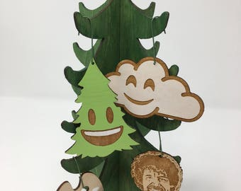 Bob Ross Happy Little Accidents Ornament Set | The Joy of Painting Chirstmas Ornaments