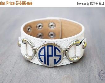 Monogrammed {WHITE} leather bracelet, monogram bracelet, personalized leather bracelet, ladies leather bracelet, initial bracelet
