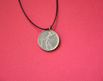 Italy L50 Lira 1979. Real Coin Pendant. REPVBLICA. ITALIANA  Сoin jewelry. Mens Necklace, Womens Necklace, Birth Year 1979
