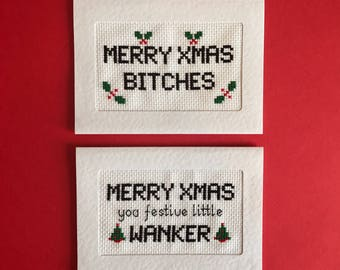 Cross stitch card kit, rude, funny, Christmas card kit, DIY craft kit, mature, subversive xstitch, obscene xmas card