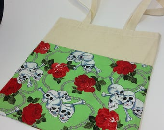 Skull and Roses fabric tote bag