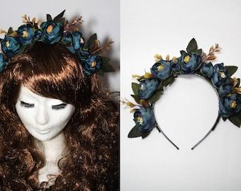 Dark blue roses hair crown - gothic casual flowers headdress