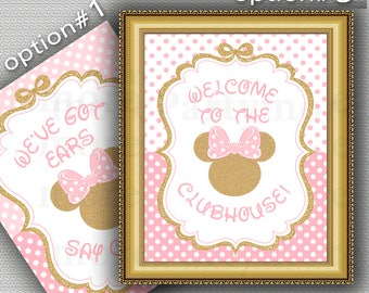 "Minnie Mouse Sign, Pink and Gold Minnie Mouse Sign 8""x10"",  We've Got Ears Say Cheers, Welcome to the Clubhouse, Minnie Mouse Birthday"