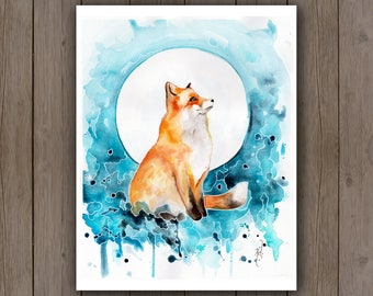 Watercolour Art Print - Fox & Moon / Watercolor Splatter Painting / Surreal Wildlife Red Fox Painting / Turquoise Blue Aqua Teal Boho