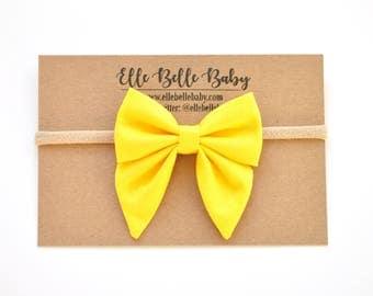 Sunshine Yellow Elle Sailor bow - Baby Headband-Cotton Newborn Hair Bow-Hairbow with tails-Toddler clip-Nylon Headband-Alligator Clip