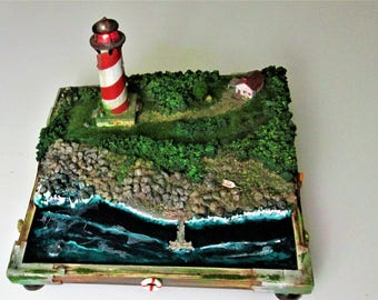Miniature Sculpture with working lights, Diorama, Light house, Maine inspired light House