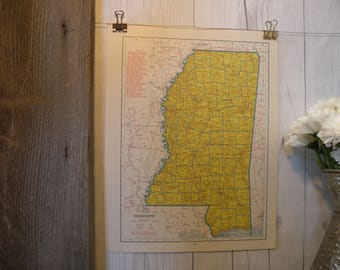 1940-Mississippi Map-WWII Era Map-Beautiful map of Mississippi-Vintage Map-Colorful Atlas Map-Gift-Home Decor