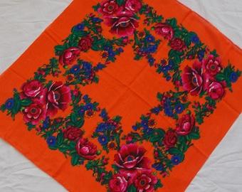 Orange shawl Soviet Wool Scarf Traditional folk woolen Vintage Russian scarf Ukrainian Chale Russe Women Head Scarf Ukrainian holiday platok