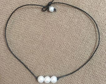Triple Beaded Pearl Necklace