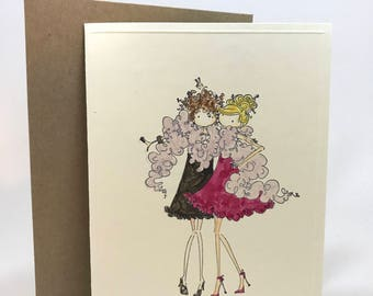For girls, ladies, women, hang out, best friends, party, hand made, water colored cards
