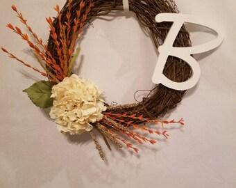 ASHLEE Custom Order,   Hydrangea Wreath, Grapevine Monogram Wreath, Custom Grapevine Wreaths, Everyday Wreath, Initial Wreath,