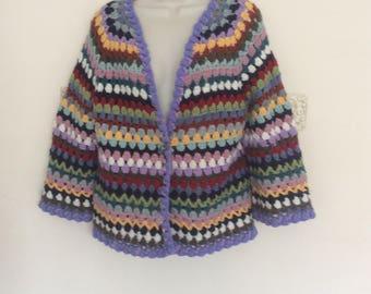 Crochet multicolored women's jacket