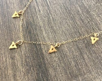 V is for Vegan charm necklace, dainty, layering, stacking, light, minimalist