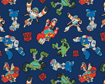 "Transformers on Blue fabric, By the Half Yard, 45"" wide, 100% cotton, cartoon fabric, character fabric, movie fabric, quilting fabric"