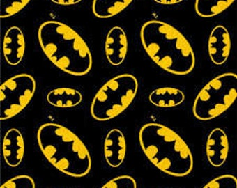 "Batman symbol - DC Comics for Camelot Fabrics, 43"" wide, 100% cotton FLANNEL, by the half yard"
