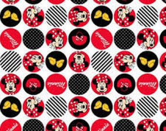 "Minnie Mouse in circles by Springs Creative, 43-44"" wide, 100% cotton, by the half yard"