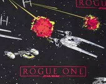 "Rogue One a Star Wars Story on black FLANNEL fabric, by the half yard, 42"" wide, 100% cotton flannel, Xwing fighter, star wars fabric"