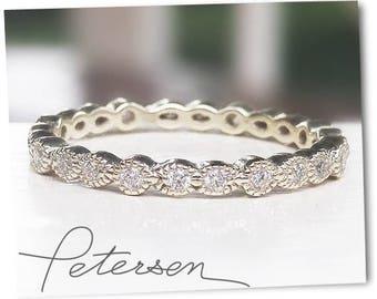 White Gold Wedding Band - Art Deco Ring - Stacking Ring - Eternity Ring, Wedding Ring, Promise Ring, miligrain ring, diamond simulant