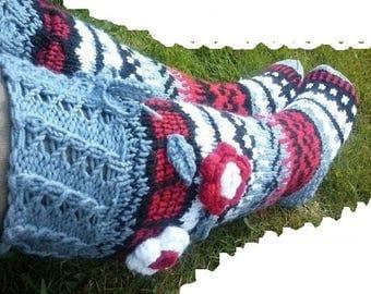 Knit socks with flower, Women Socks, Knee Length Socks, Knee High Socks, Under the Knee Socks, Socks with Flowers, 3D Flowers, Chunky Socks