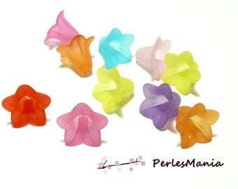 50 colorful LUCITE flower beads 18x12mm