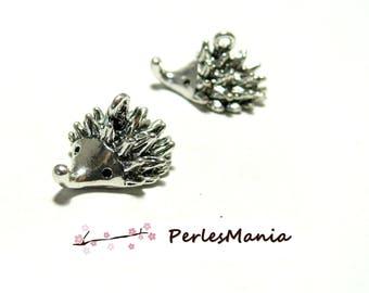 LARGE color S1193094 ANTIQUE silver 3D HEDGEHOG charm pendants
