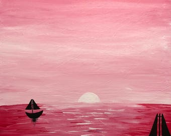 Pink Sunset, Acrylic Painting