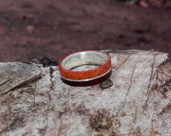 Wood Inlayed Silver Ring,wooden Ring lined with sterling silver