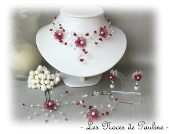 Burgundy and ivory wedding set Daisy collection ' twist ' 10 pieces