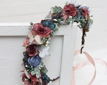 Dusty blue cranberry flower crown Bridal floral headpiece Wedding hair wreath Flower halo Maternity crown Bridesmaid headband Outdoor