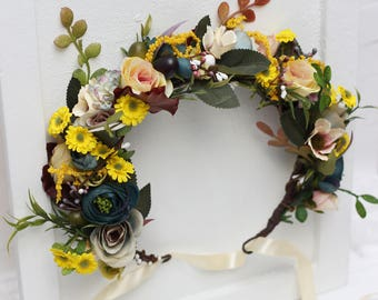 Yellow blue flower crown  Bridal headpiece Wedding floral halo Girl hair wreath Maternity photo props Wild flowers Bridesmaid headband