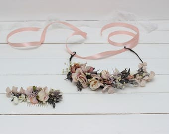 Pastel grey beige flower crown Floral comb Wedding accessories Bridal hairpiece Bridesmaid headpiece Romantic wedding Flower girl Maternity