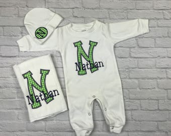 Baby boy coming home outfit,newborn boy coming home outfit,baby boy outfit,baby boy shower gift,baby boy sleeper,babyboy monogrammed outfit