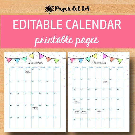editable monthly calendar 2018