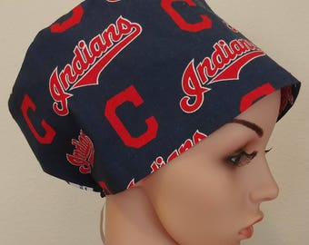 Women's Surgical Cap, Scrub Hat, Chemo Cap, MLB Cleveland Indians