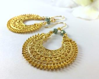 Gold Hoop Earrings Large Filigree Hoop Tribal Earrings Boho Gypsy Ethnic Earrings Large Statement Earrings Bohemian Jewelry Gold Loop