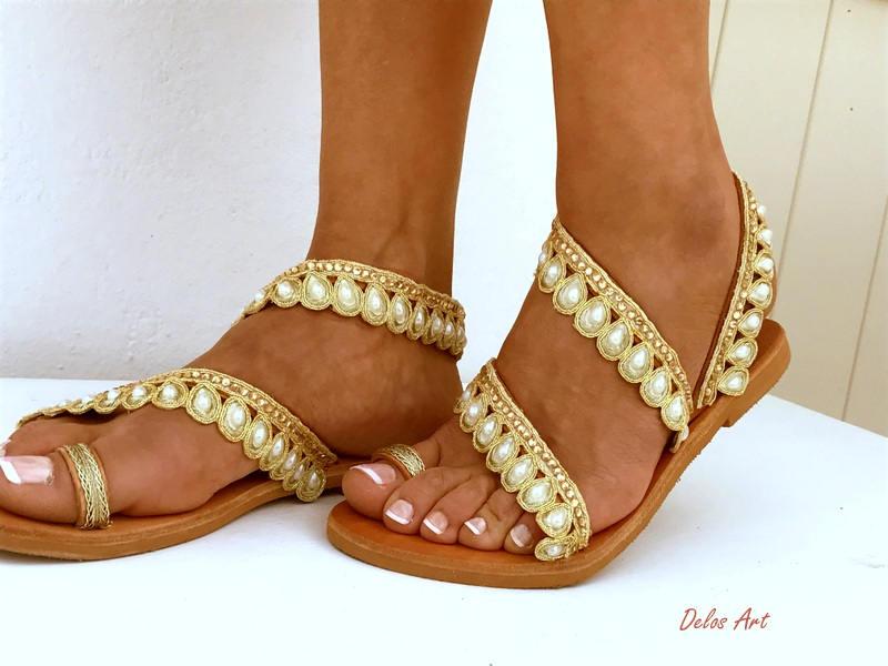 Bridal sandals white beach wedding sandals leather sandals leto bridal sandals white beach wedding sandals leather sandals leto pearl sandals greek sandals genuine leather shoes summer shoes junglespirit Gallery