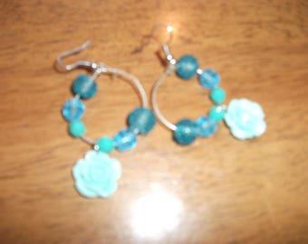 Blue Flower Hoops