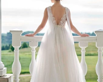 THIS WEEKEND ONLY Wedding dress, bridal gown, beaded wedding dress, lace wedding dress, empire waist wedding dress, maternity wedding dress
