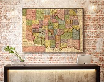 Oklahoma State Map, Oklahoma Map Canvas, Antiqued Oklahoma Map, Canvas Wall Decor, Oklahoma Wall Decor, Map of Oklahoma Canvas