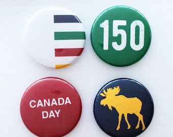 Set of 4 Flair Buttons {Canada Day}
