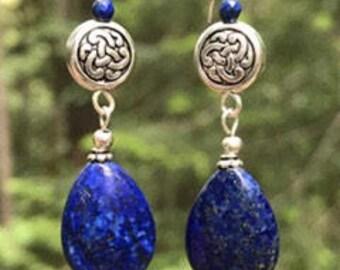 Celtic earrings, Celtic jewelry, lapis lazuli earrings, Irish, Celtic knot earrings