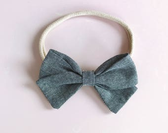 Baby girl headband bow charcoal cotton