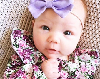 Pastel lilac purple bow headband newborn baby toddler kids girls