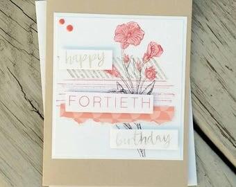40th birthday card, Birthday card, Birthday gift, 40th birthday, happy birthday card, birthday card her, Stampin up card, Greeting Card