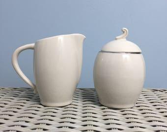 Royal Devon Simplicity Silver Sugar Bowl & Creamer