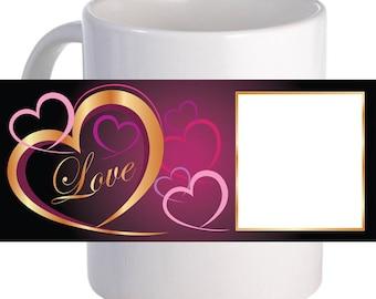"Personalized ""Gold Love Frame"" Coffee Mug With Custom Printed Image"