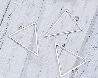 5 pendants triangular openwork 3.5 cm silvered Metal / geometric