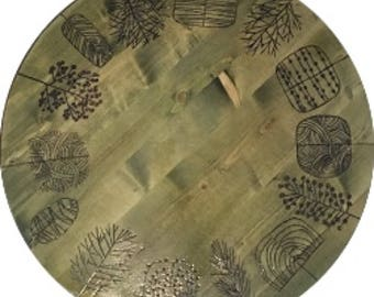 Green trees wooden Lazy Susan turntable